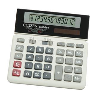 45e2cc9665fd7 Citizen Kalkulačka SDC368, bílo-černá, stolní, dvanáctimístná, duální  napájení