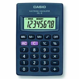 Kalkulačka Casio, HL 4, černá, kapesní kalkulačka, osmimístná
