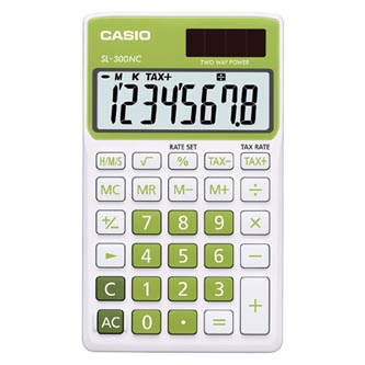 Kalkulačka Casio, SL 300 NC/GN, zelená, kapesní, osmimístná