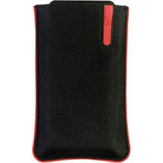 Pouzdro na mobil, černé, nylon, červený proužek, 105 x 45 x 15 mm