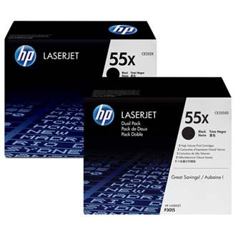 HP originální toner CE255XD, black, 12500str., 55X, HP Enterprise P3015, Dual pack dual pack