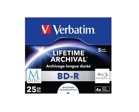 BD-R BluRay, archive, printable, 25GB, 6x, slim case, VERBATIM