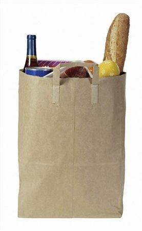Papírová taška s uchem, hnědá, 22x11x28 cm