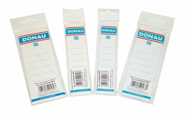 Štítek pro pákové pořadače, bílý, samolepící, 33x153 mm, DONAU