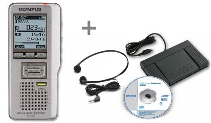 """Diktafon """"DS-2500"""" sada, včetně přepisovací sady AS-2400, digitální, paměťová karta SD 2 GB, pouzdro"""