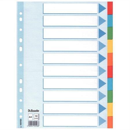Kartonové barevné rozlišovače Esselte, A4, Mix barev