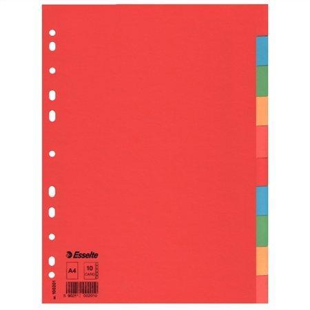 Kartonové barevné rozlišovače Esselte Economy, A4, Mix barev