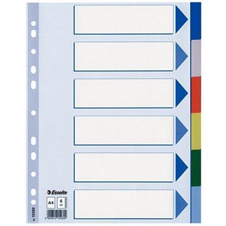 Plastové barevné rozlišovače Esselte, A4, Mix barev