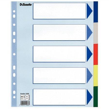 Plastové barevné rozlišovače Esselte, A4 Maxi, Mix barev