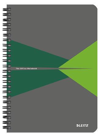 """Blok """"Office"""", šedo-zelená, drátěná kroužková vazba, A5, linkovaný, 90 listů, laminované desky, LEIT"""