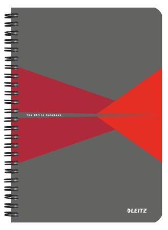 """Blok """"Office"""", šedo-červená, drátěná kroužková vazba, A5, čtverečkovaný, 90 listů, laminované desky,"""