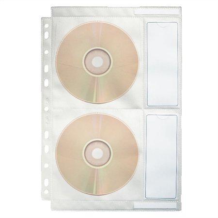Závěsné kapsy na CD/DVD, čirá, A4, 200 mikronů, PP/textil, ESSELTE