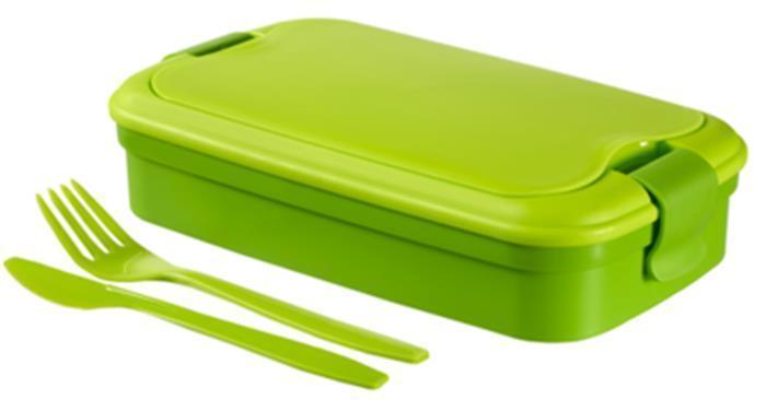 """Box na jídlo, 1,2 l, s příborem, CURVER """"Grand Chef"""", zelený"""
