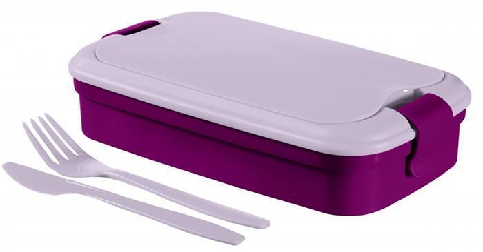 """Box na jídlo, 1,2 l, s příborem, CURVER """"Grand Chef"""", fialový"""