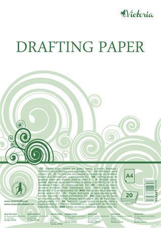 Papír na technické výkresy, čtvrtky, A4, 20 listů, VICTORIA