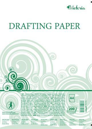 Papír na technické výkresy, čtvrtky, A4, 200 listů, VICTORIA