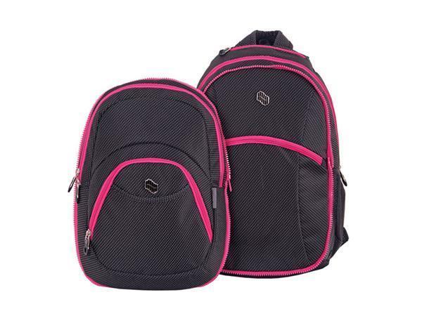 """Batoh """"Pink dot"""", černý-růžový, 2 in 1, přihrádka na notebook a audio konektor, PULSE"""