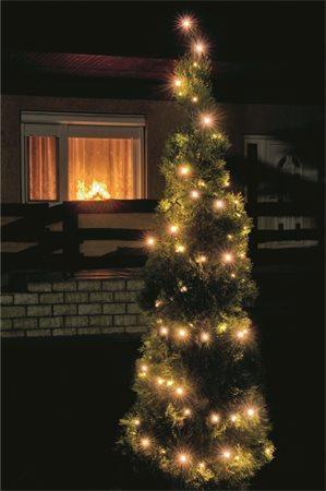 LED svítící řetěz, venkovní, 100 ks LED, teplá bílá