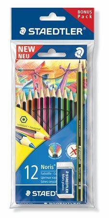 "Barevné pastelky ""Noris Colour"", 12 barev, šestihranné, + tužka + guma, STAEDTLER"