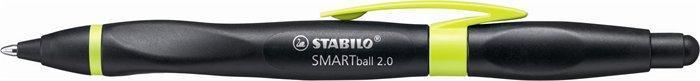 """Kuličkové pero """"Smartball 2.0"""", černá-kiwi, 0,5mm, pro praváky, stiskací mechanismus, STABILO"""