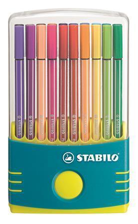 """Fixy """"Pen 68 ColorParade"""", 20 různých barev, sada, 1 mm, tyrkysové, plastové pouzdro, STABILO"""