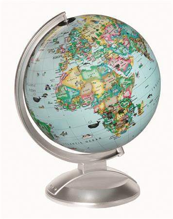 """Globus, svítící, modrý plastový podstavec, v angličtině, 25 cm, """"Globe4Kids"""""""