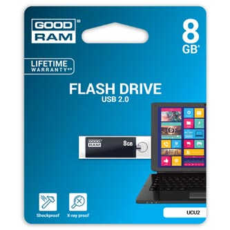 Goodram USB flash disk, 2.0, 8GB, UCU2, černý, UCU2-0080K0R11