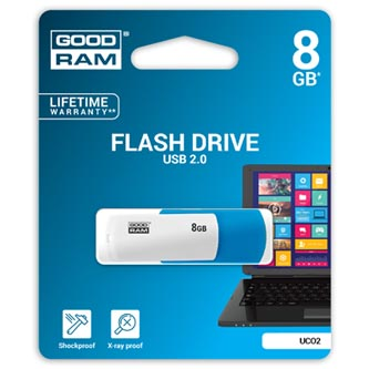 Goodram USB flash disk, 2.0, 8GB, Colour, color, UCO2-0080MXR11, podpora OS Win 7