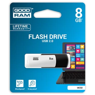 Goodram USB flash disk, 2.0, 8GB, UCO2, black and white, UCO2-0080KWR11, podpora OS Win 7