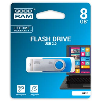 Goodram USB flash disk, 2.0, 8GB, UTS2, modrý, UTS2-0080B0R11, podpora OS Win 7