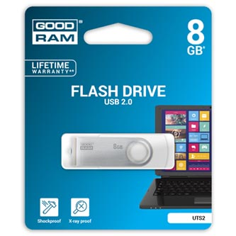 Goodram USB flash disk, 2.0, 8GB, bílý, UTS2-0080W0R11, podpora OS Win 7