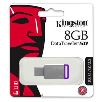 Kingston USB flash disk, 3.0, 8GB, DataTraveler DT50, fialový, DT50/8GB