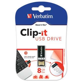 Verbatim USB flash disk, 2.0, 8GB, Store ,N,Go Drive Clip-IT, černá, 43932, pro archivaci dat