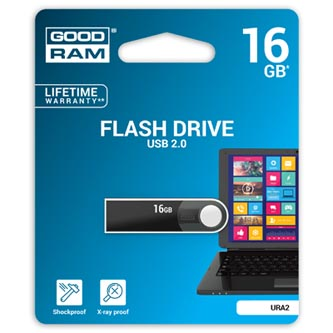 Goodram USB flash disk, 2.0, 16GB, URA2, černý, URA2-0160K0R11