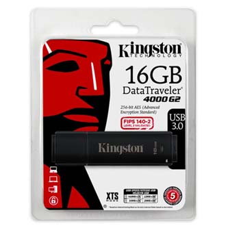 Kingston USB flash disk, 3.0, 16GB, Data Traveler 4000 G2, černý, DT4000G2/16GB