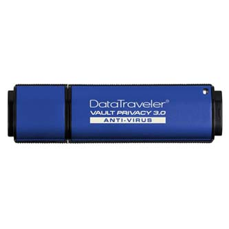 Kingston USB Flash Memory DataTraveler Vault, 3.0, 16GB, Data Traveler Vault Privacy Anti-Virus, modrý, DTVP30AV/16GB
