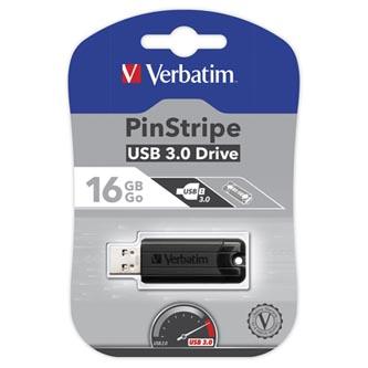 Verbatim USB flash disk, 3.0, 16GB, Store,N,Go PinStripe, černý, 49316