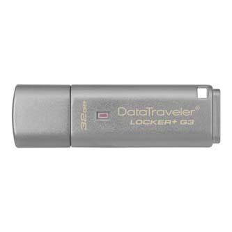Kingston USB flash disk, 3.0, 32GB, Data Traveler Locker+ G3, stříbrný, DTLPG3/32GB
