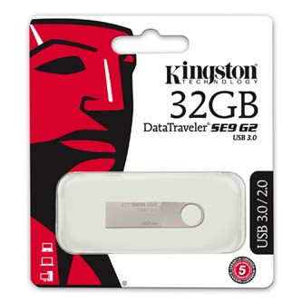 Kingston USB flash disk, 3.0, 32GB, Data Traveler SE9, stříbrný, DTSE9G2/32GB, kovový
