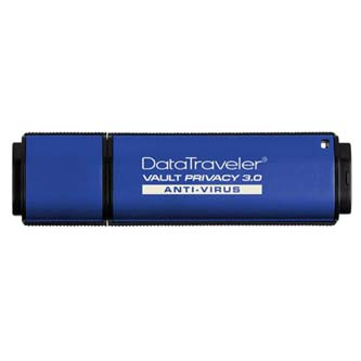 Kingston USB Flash Memory DataTraveler Vault, 3.0, 32GB, Data Traveler Vault Privacy Anti-Virus, modrý, DTVP30AV/32GB