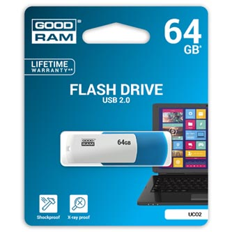 Goodram USB flash disk, 2.0, 64GB, UCO2, blue and white, UCO2-0640KWR11, podpora OS Win 7