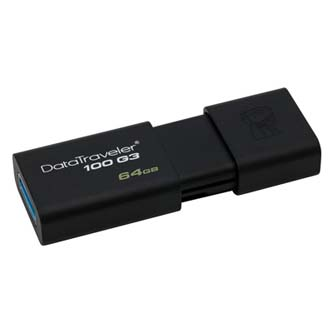 Kingston USB flash disk, 3.0, 64GB, DataTraveler 100 Gen3, černý, DT100G3/64GB