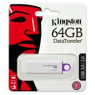 Kingston USB flash disk, 3.0, 64GB, Data Traveler DTI-G4, fialová, DTIG4/64GB