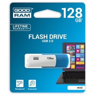 Goodram USB flash disk, 2.0, 128GB, UCO2, blue and white, UCO2-1280MXR11, podpora OS Win 7