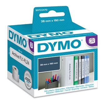 Dymo papírové štítky 190mm x 38mm, bílé, na úzké pořadače, 99018, S0722470