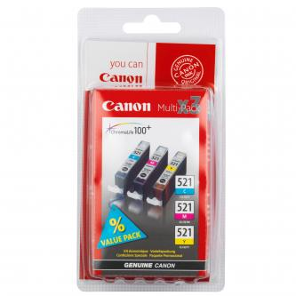 Canon originální ink CLI521, cyan/magenta/yellow, 3x9ml, 2934B010, 2934B007, blistr, Canon iP3600, iP4600, MP620, MP630, MP980