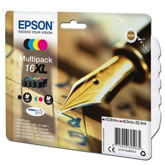 Epson originální ink C13T16364012, T163640, 16XL, CMYK, 3x6.5/12.9ml, Epson WorkForce WF-2540WF, WF-2530WF, WF-2520NF, WF-2010
