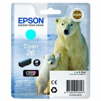 Epson originální ink C13T26124010, T261240, cyan, 4,5ml, Epson Expression Premium XP-800, XP-700, XP-600