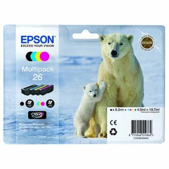 Epson originální ink C13T26164010, T261640, CMYK, 3x4,5/6,2ml, Epson Expression Premium XP-800, XP-700, XP-600