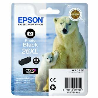 Epson originální ink C13T26314010, T263140, photo black, 8,7ml, Epson Expression Premium XP-800, XP-700, XP-600